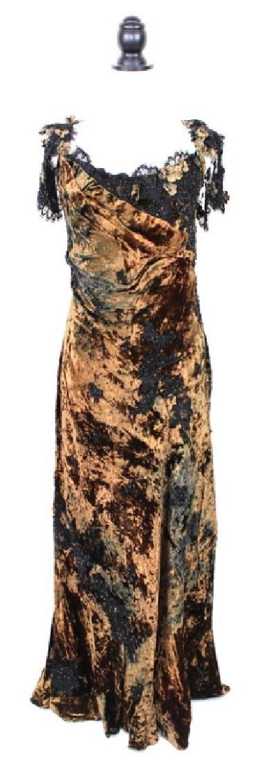 San Carlin Brown & Black Velvet Gown
