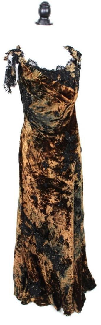 San Carlin Brown & Black Velvet Gown - 2