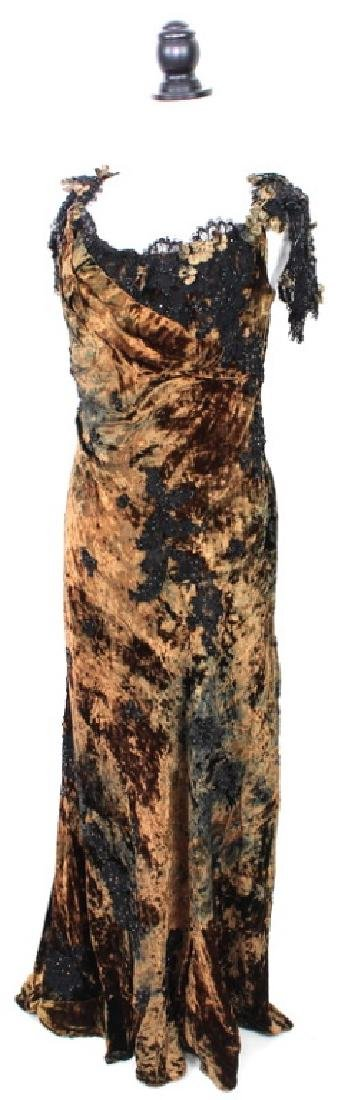 San Carlin Brown & Black Velvet Gown - 3
