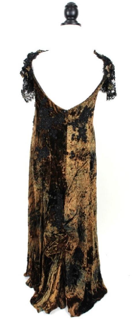 San Carlin Brown & Black Velvet Gown - 4