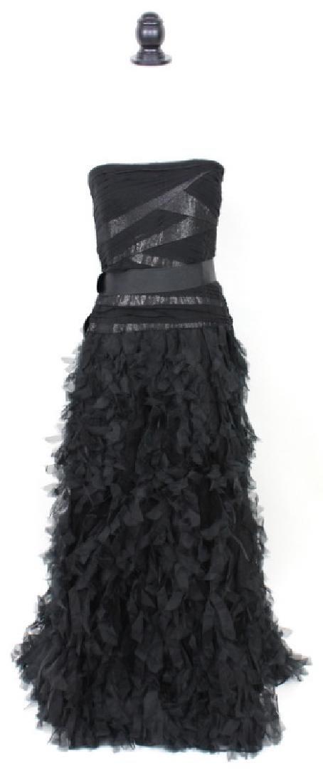 Tadashi Shoji Black Silk, Ruffled Gown, Size14