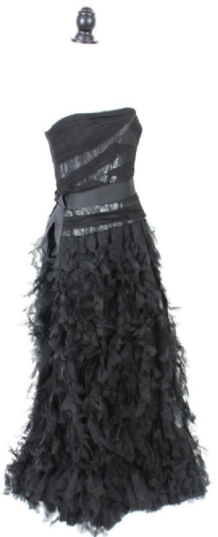 Tadashi Shoji Black Silk, Ruffled Gown, Size14 - 2