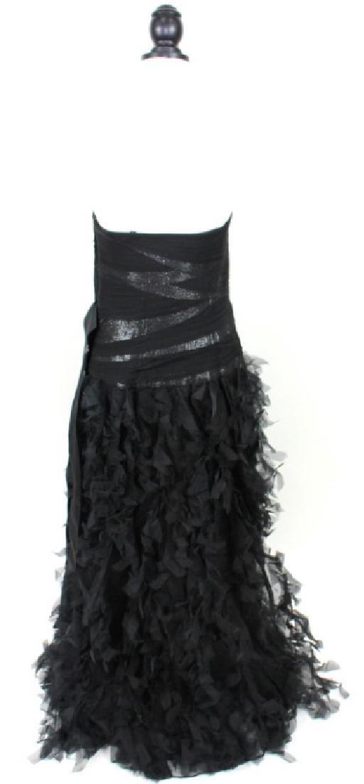 Tadashi Shoji Black Silk, Ruffled Gown, Size14 - 3