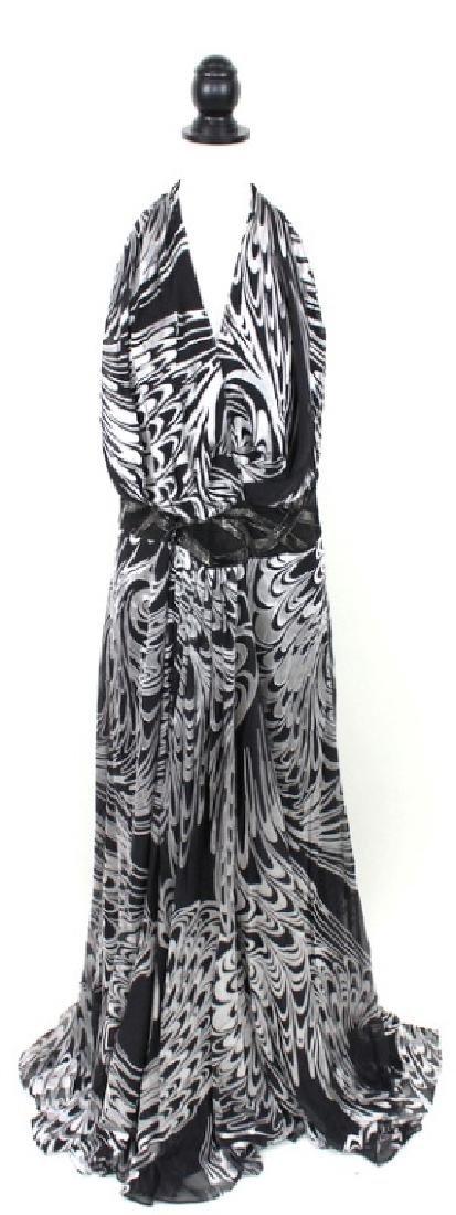 Escada Black & Silver Halter Gown