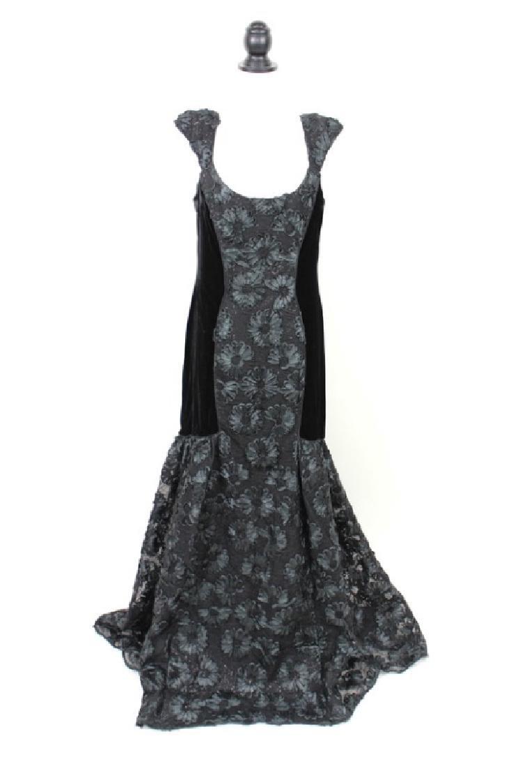 Theia Black Velvet Gown, 14
