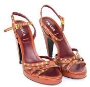 Prada Brown Leather Heels, Size 40