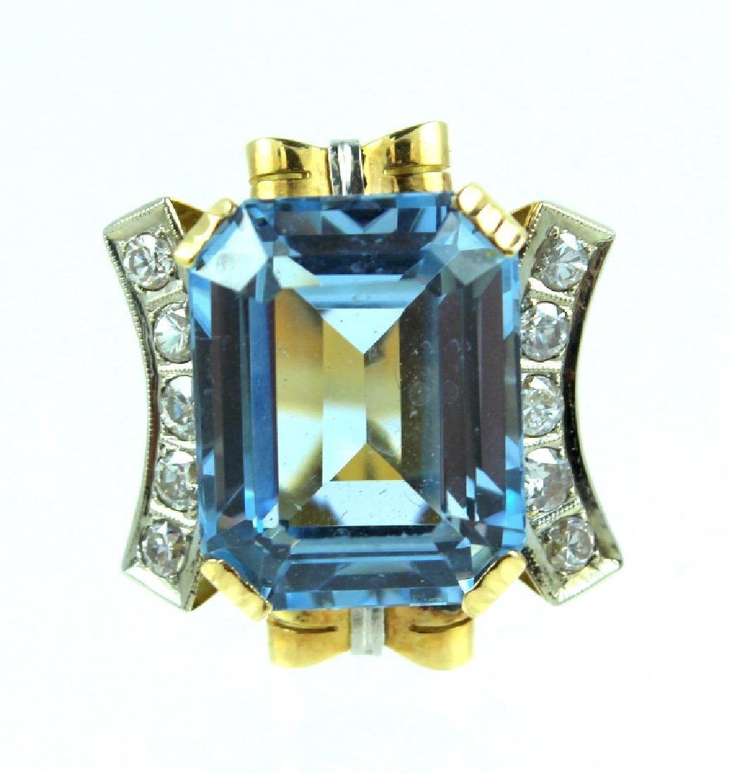 14K Synthetic Spinel Diamond Ring