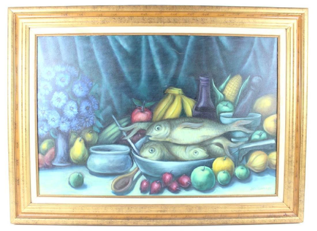 "JULIO SUSANA OIL ON CANVAS, ""FISH, FRUIT& FLOWERS"" - 2"