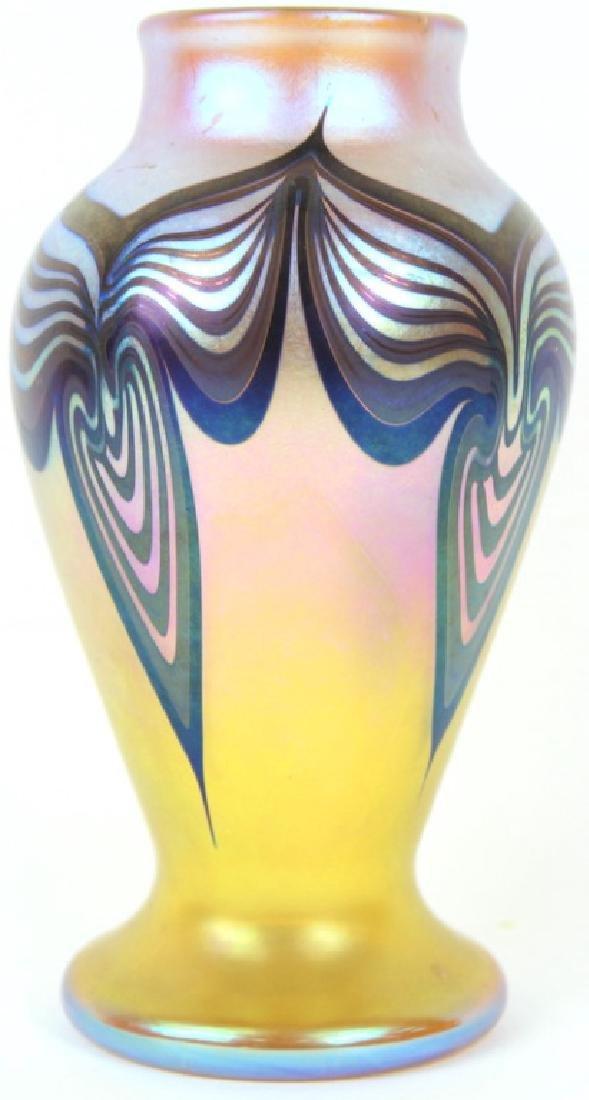 IRIDESCENT ORIENT & FLUME ART GLASS VASE, SIGNED - 2