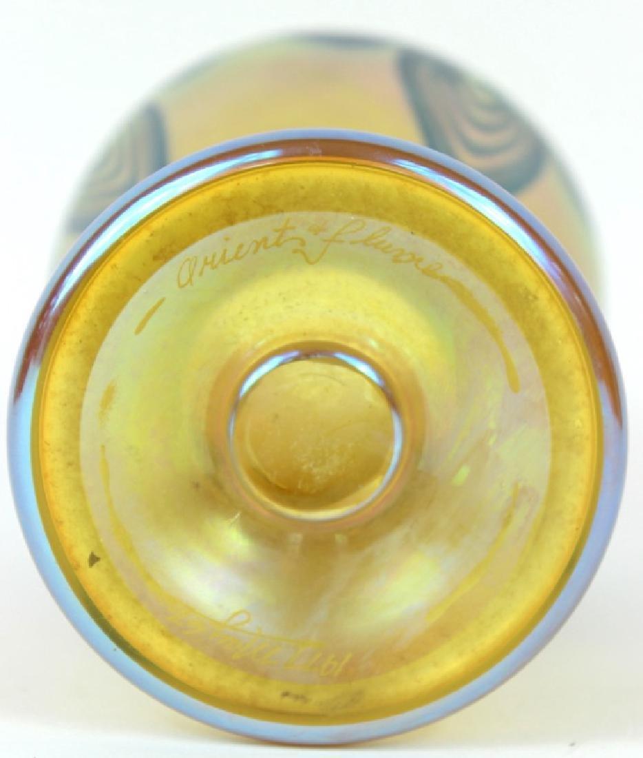 IRIDESCENT ORIENT & FLUME ART GLASS VASE, SIGNED - 5
