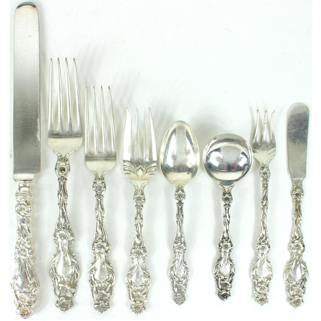 WHITING STERLING SILVER FALTWARE SET 'LILY' C.1900 - 2