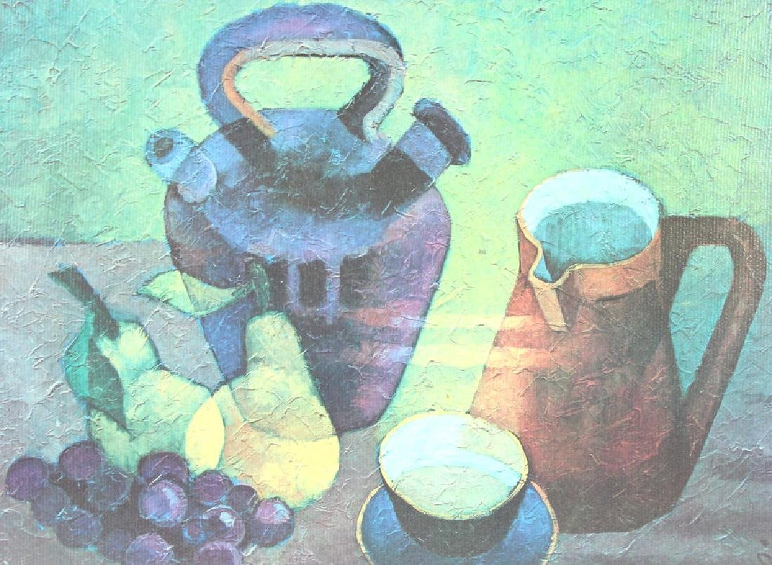 FRUIT & COFFEE PAINTING, ARTIST UNKNOWN, SIGNED