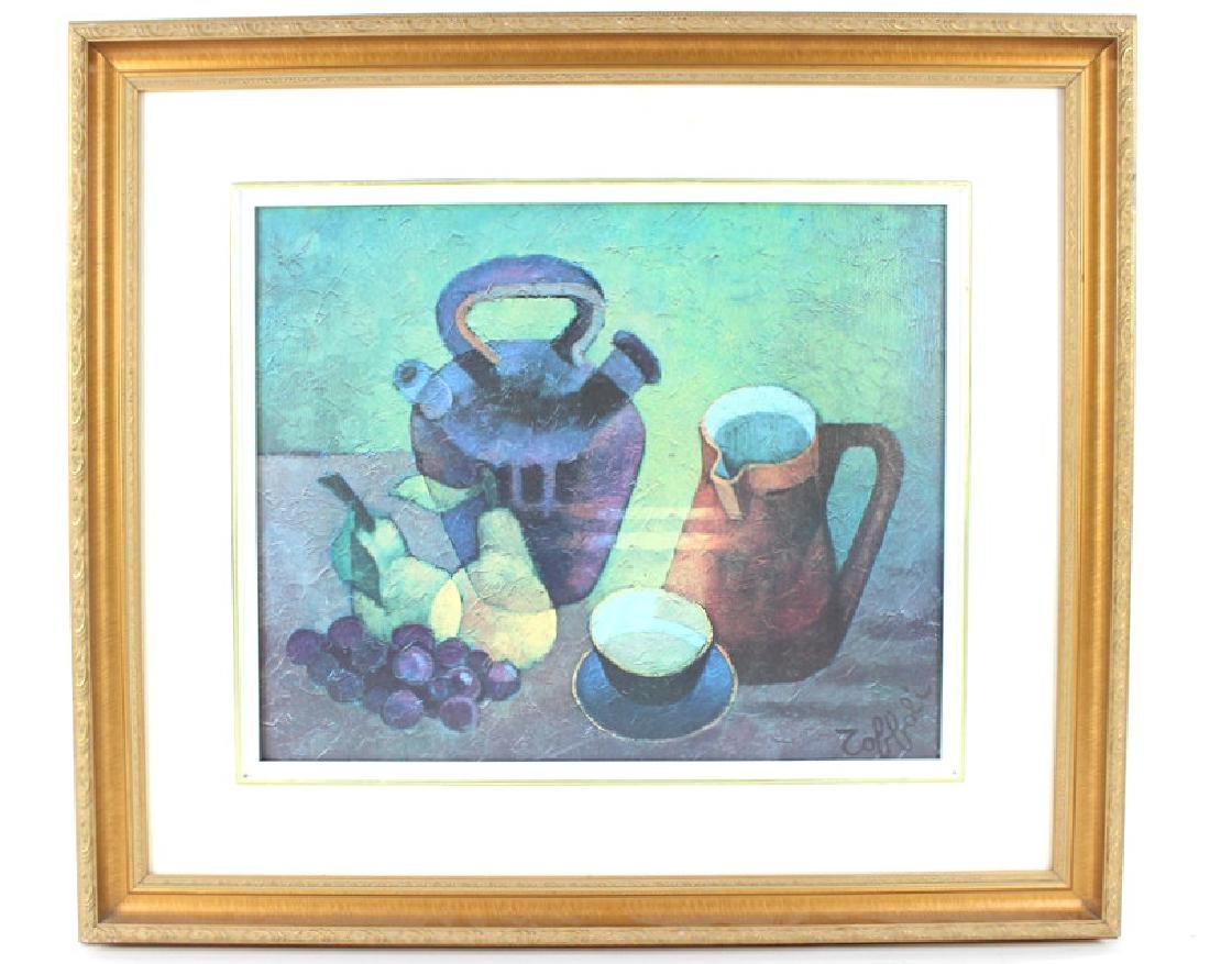 FRUIT & COFFEE PAINTING, ARTIST UNKNOWN, SIGNED - 4