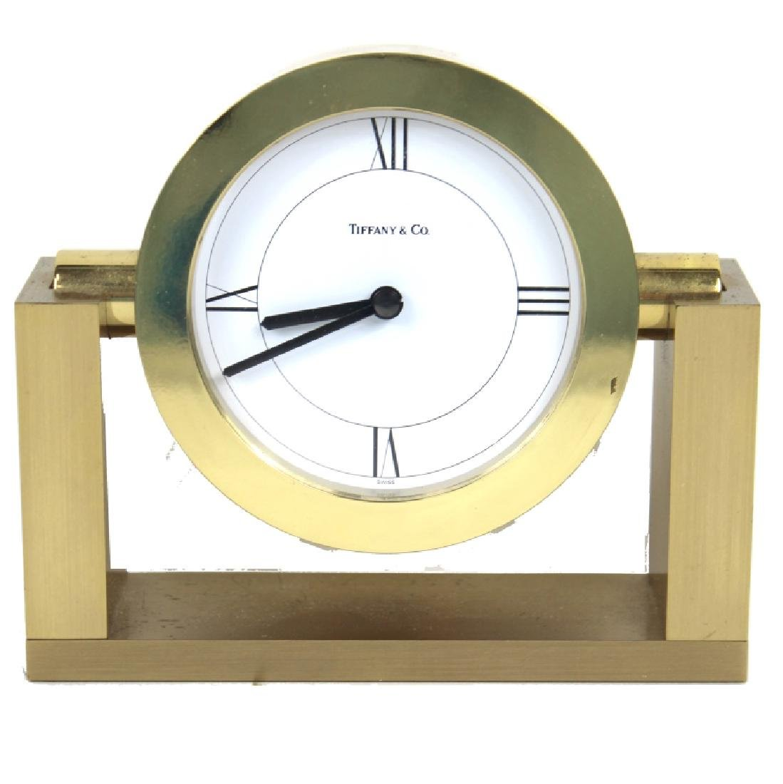TIFFANY & CO. SWIVEL FRAME, BRASS DESK CLOCK
