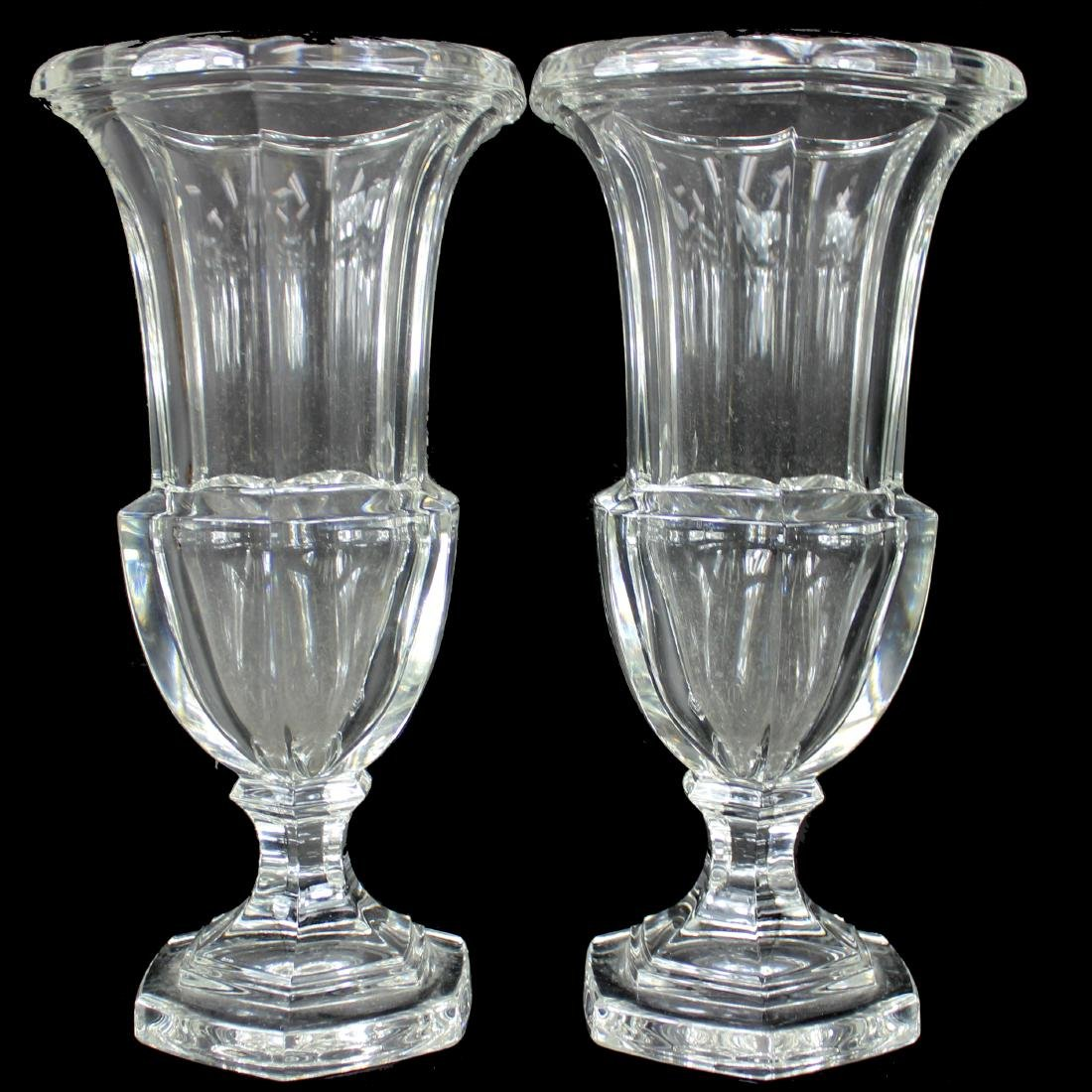 PAIR, BACARRAT CRYSTAL VASES, UNSIGNED