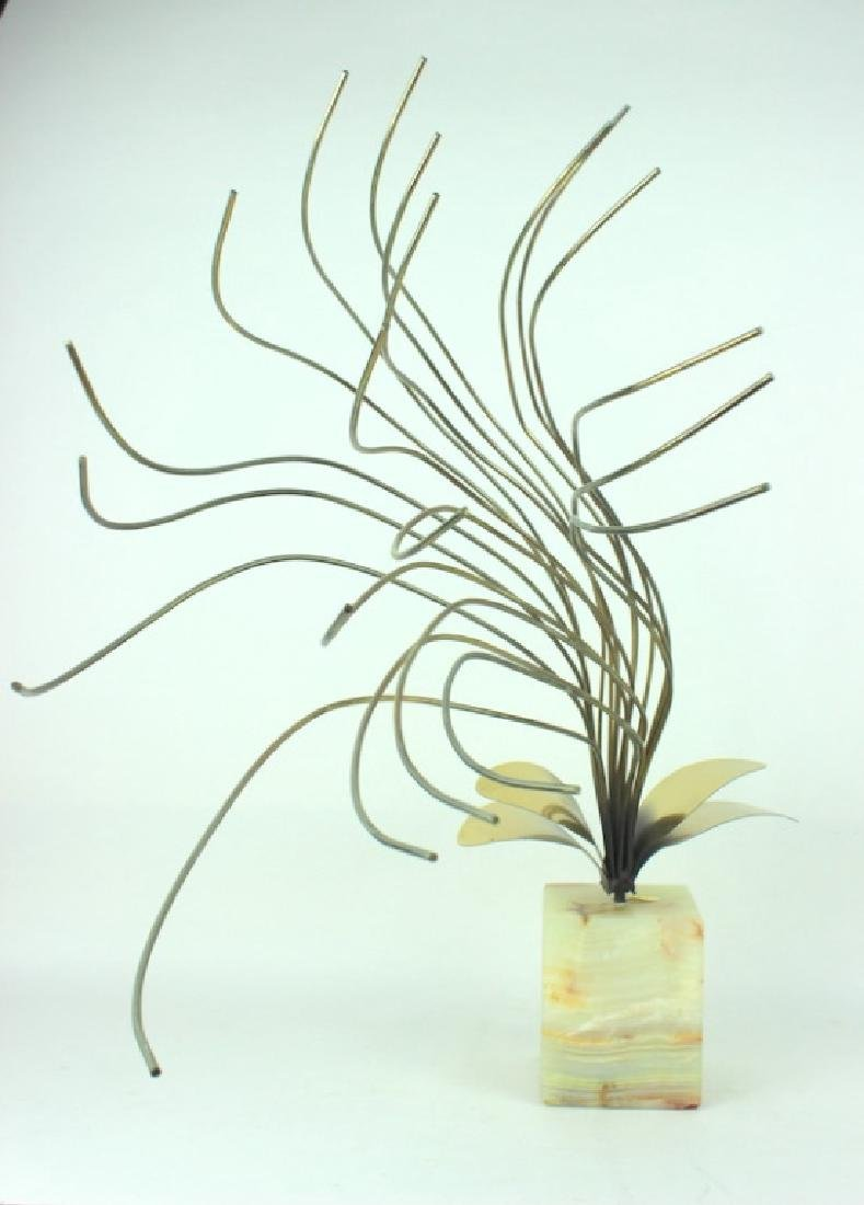 CURTIS JERE, MODERN BRASS SCULPTURE, ONYX BASE