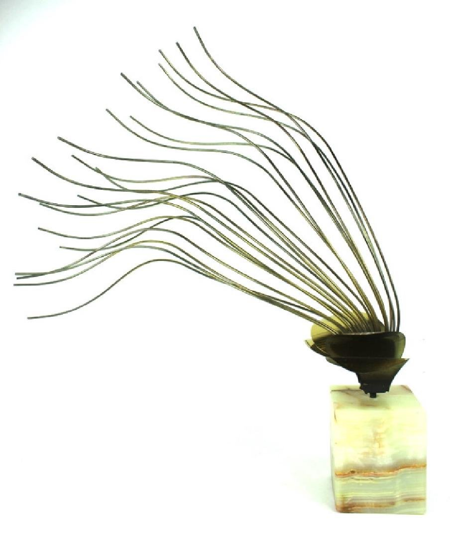 CURTIS JERE, MODERN BRASS SCULPTURE, ONYX BASE - 2