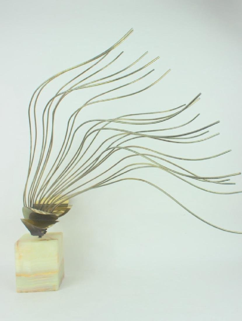 CURTIS JERE, MODERN BRASS SCULPTURE, ONYX BASE - 6