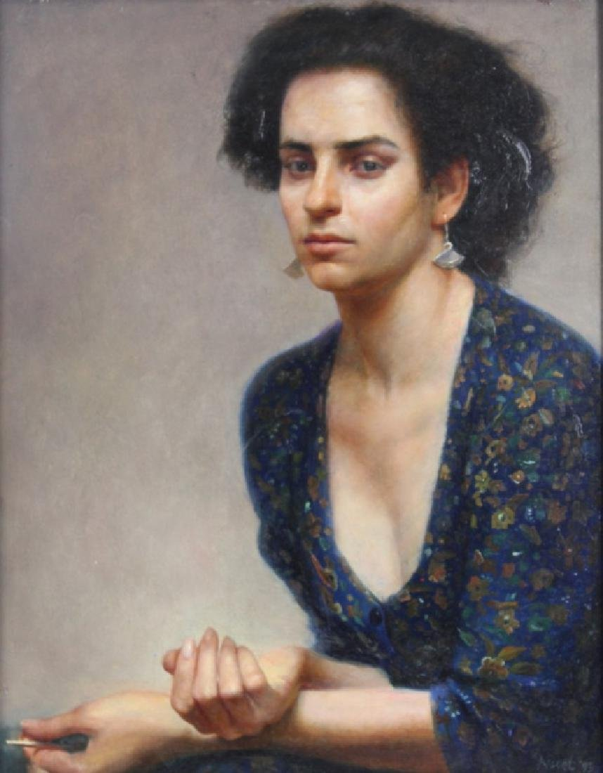 """STEVEN ASSAEL """"WOMAN WITH KNITTING NEEDLE"""" 1993"""