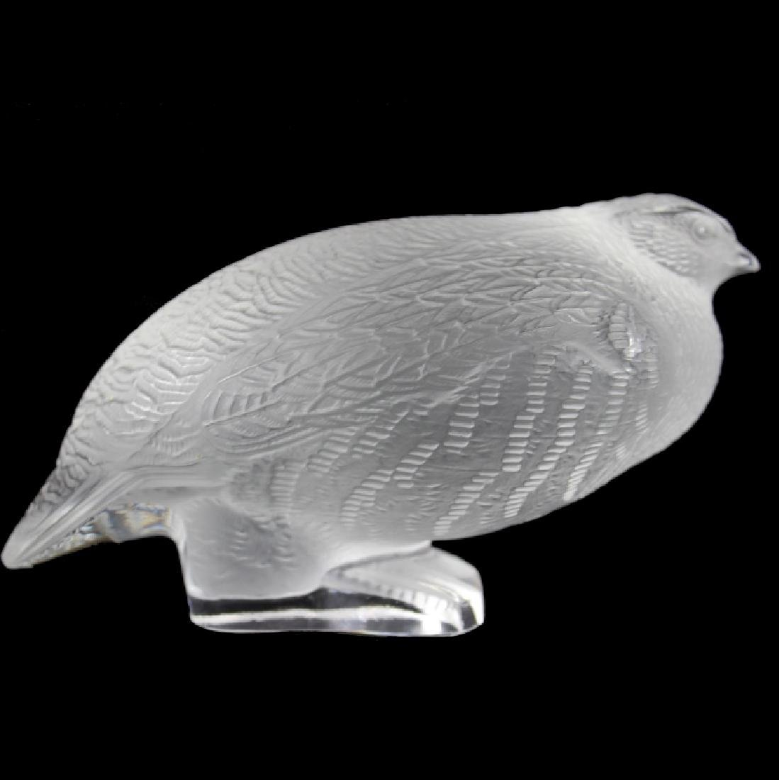 LALIQUE CRYSTAL QUAIL FIGURINE, SIGNED