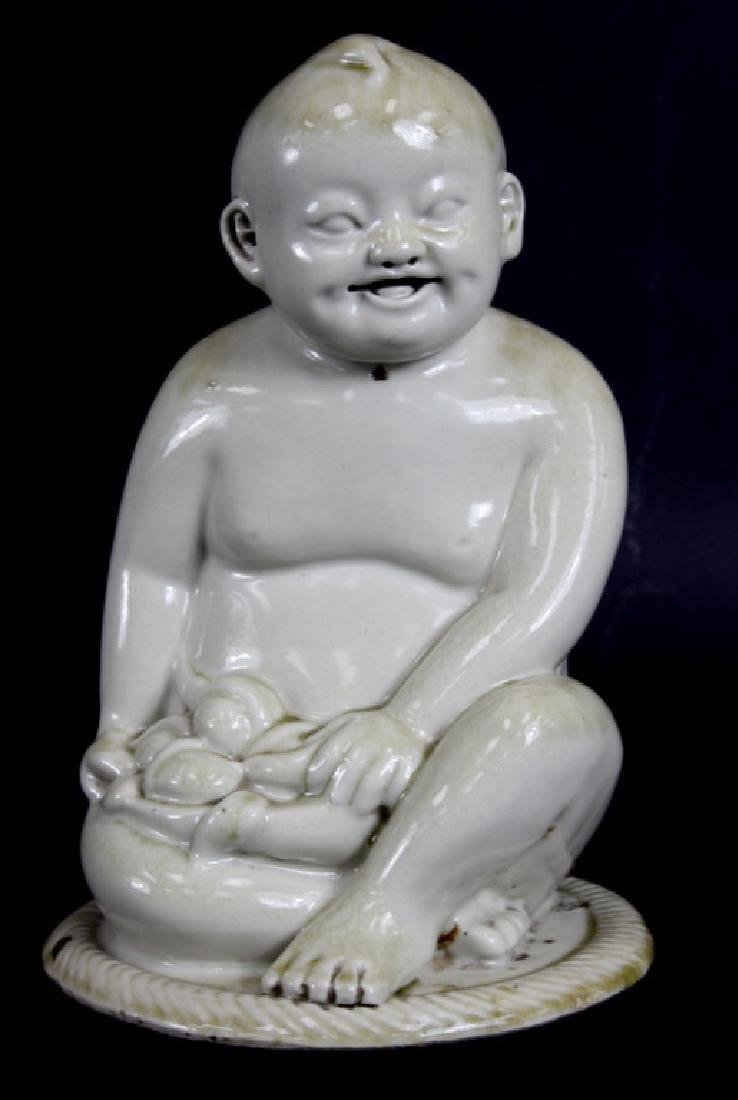 ANTIQUE, CHINESE GLAZED PORCELAIN BUDDHA