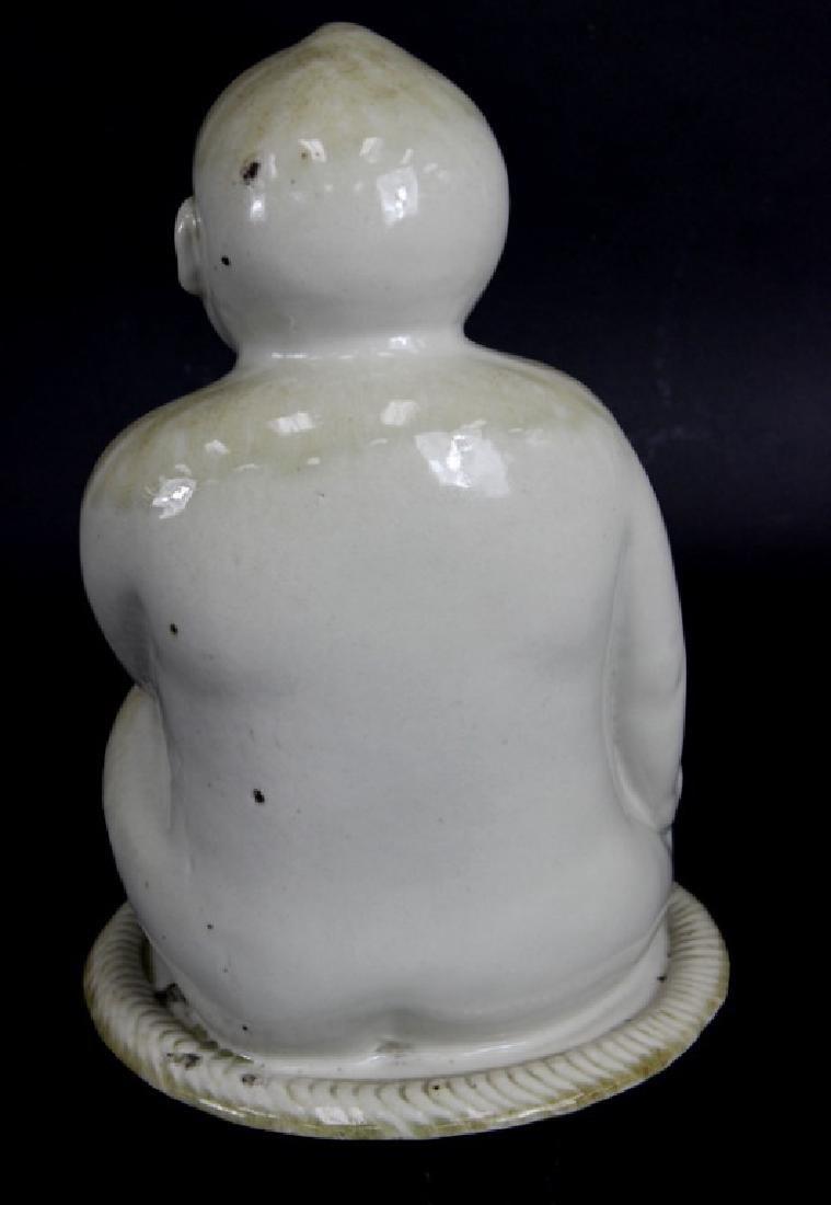 ANTIQUE, CHINESE GLAZED PORCELAIN BUDDHA - 4