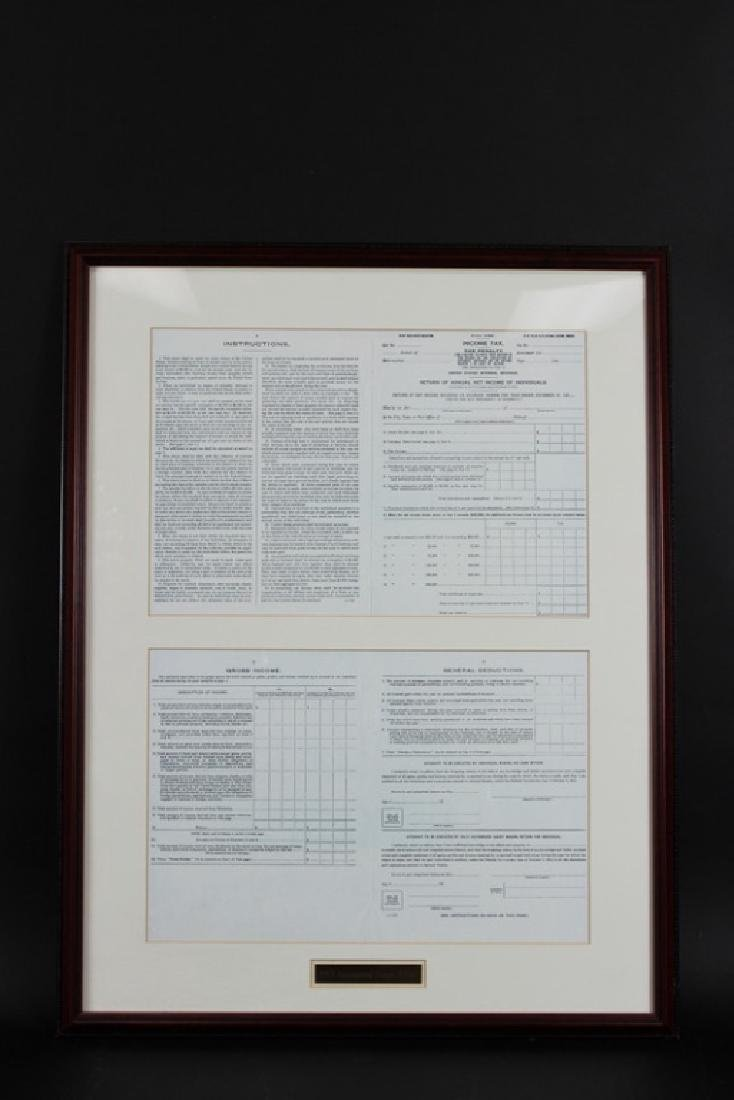 1913 INAUGURAL 1040 INCOME TAX FORM, FRAMED, RARE