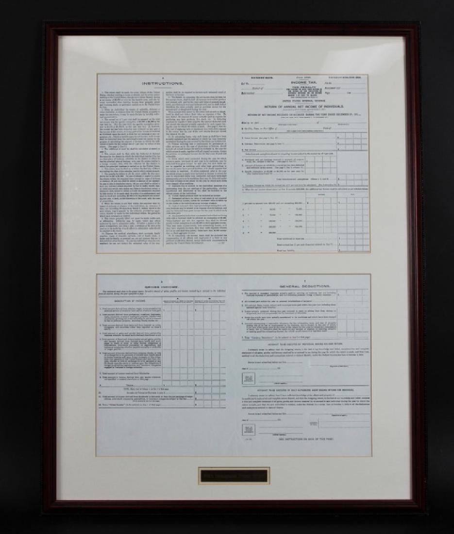 1913 INAUGURAL 1040 INCOME TAX FORM, FRAMED, RARE - 2