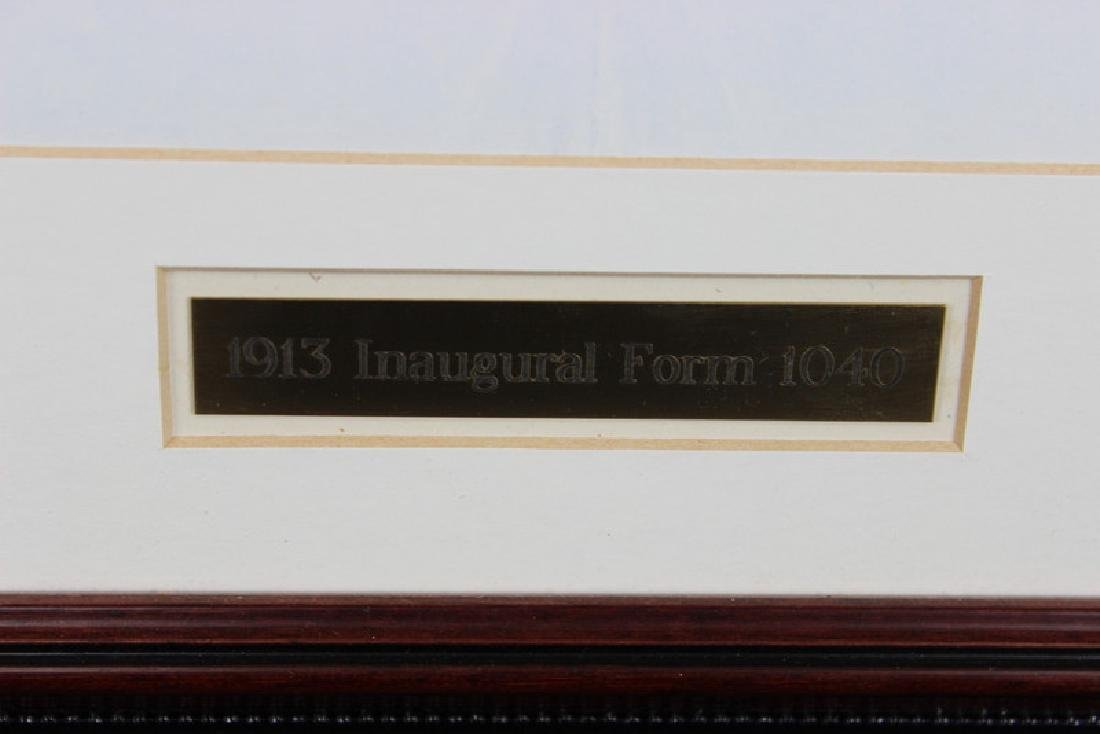 1913 INAUGURAL 1040 INCOME TAX FORM, FRAMED, RARE - 3