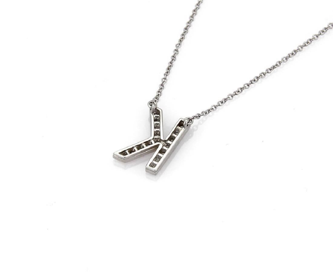 "TIFFANY & CO ""K"" DIAMOND NECKLACE - 5"