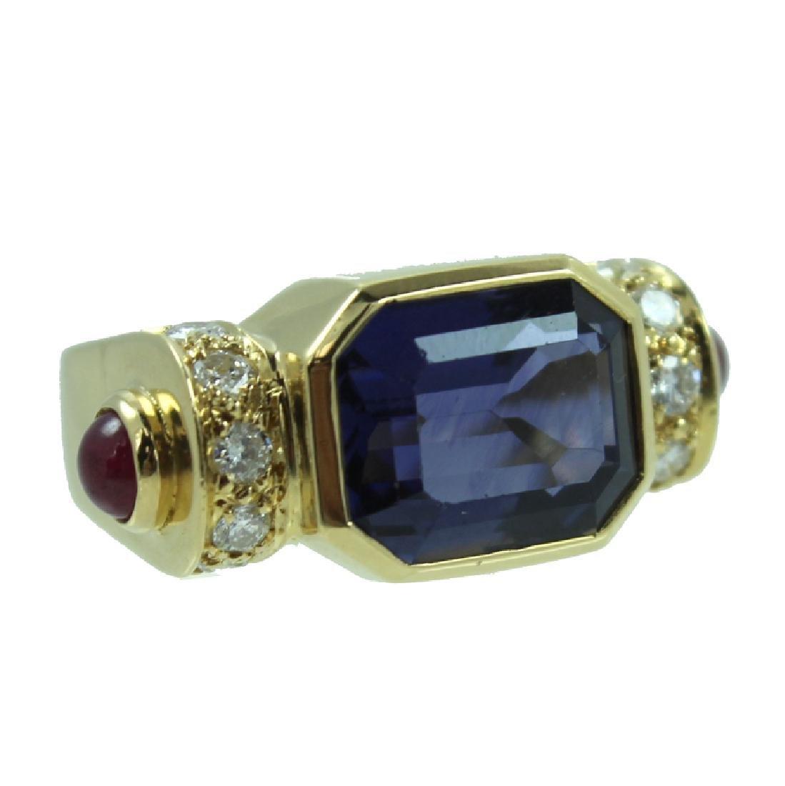 ESTATE LOLITE RUBY & DIAMOND RING