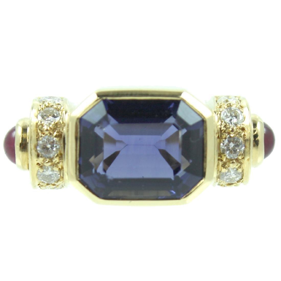 ESTATE LOLITE RUBY & DIAMOND RING - 2