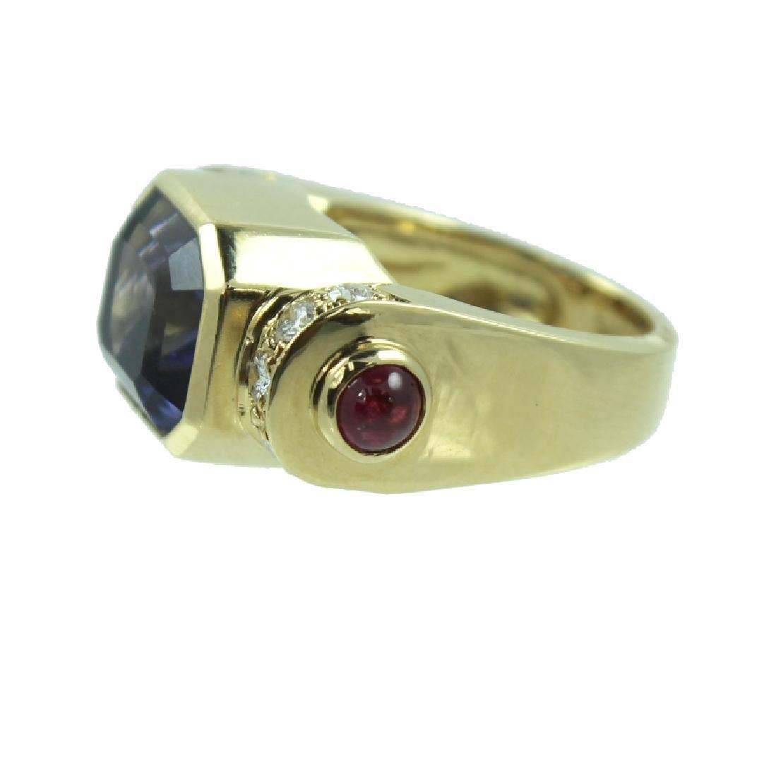 ESTATE LOLITE RUBY & DIAMOND RING - 3