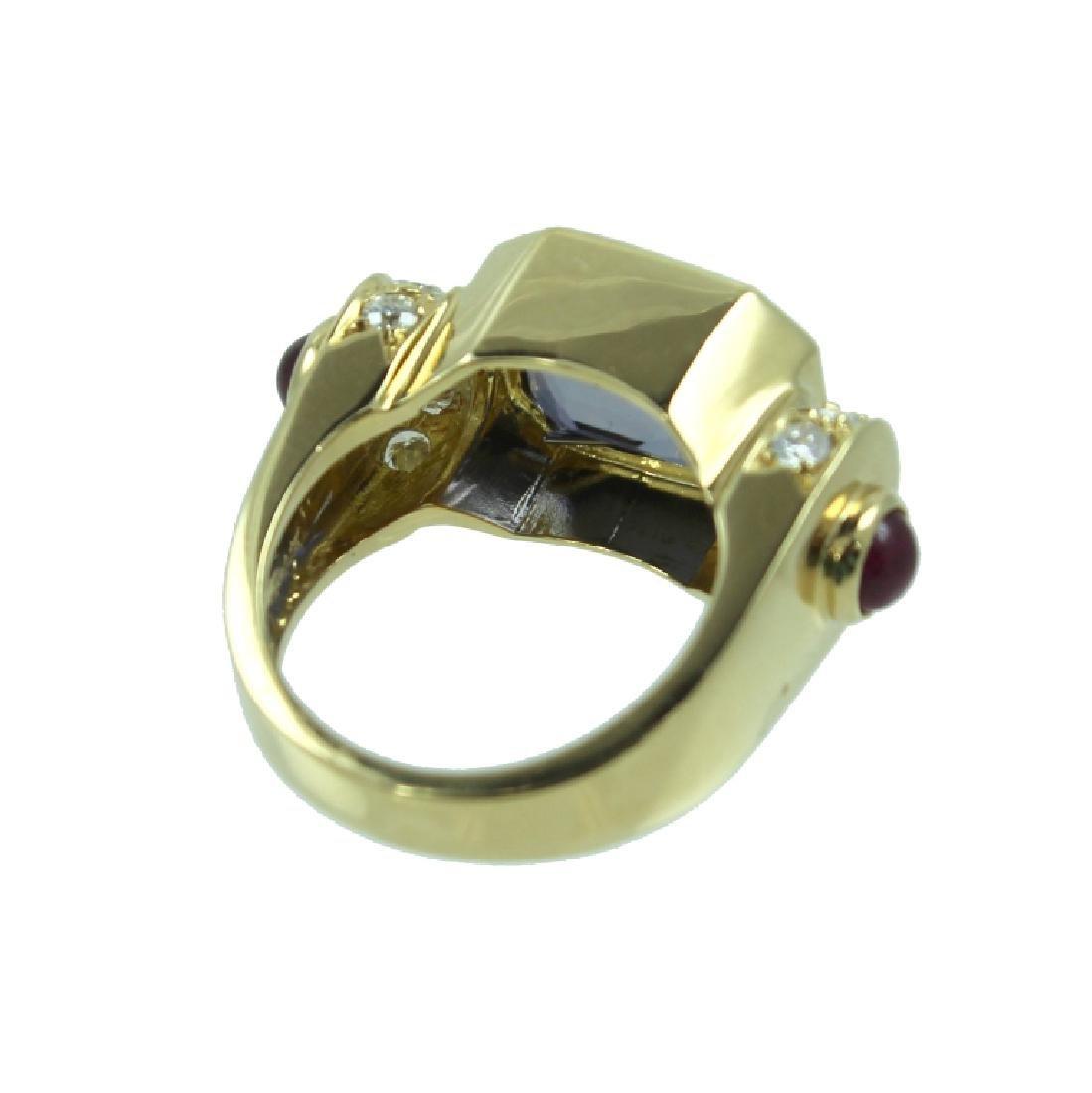 ESTATE LOLITE RUBY & DIAMOND RING - 4