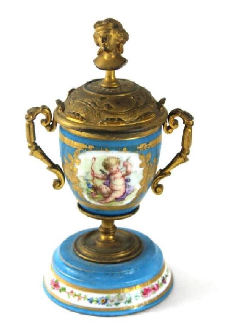 FRENCH SERVES URN, BRONZE MOUNTED