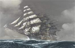 OIL ON CANVAS, CLIPPER SHIP, SIGNED