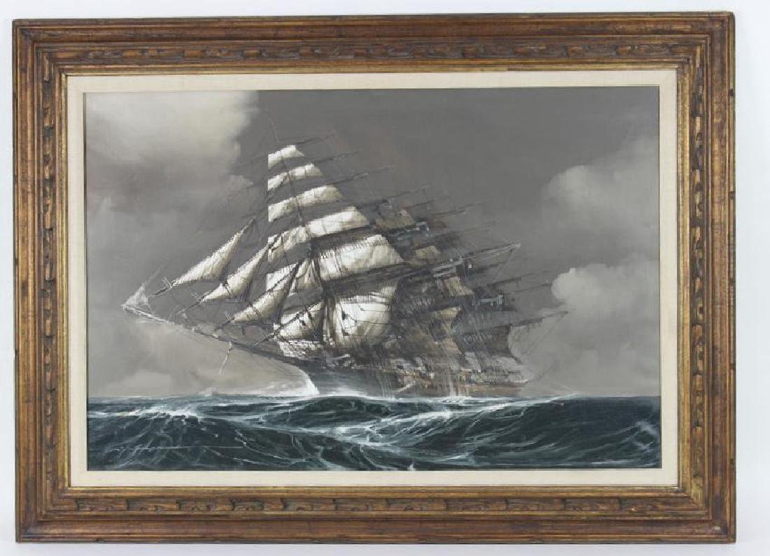 OIL ON CANVAS, CLIPPER SHIP, SIGNED - 2