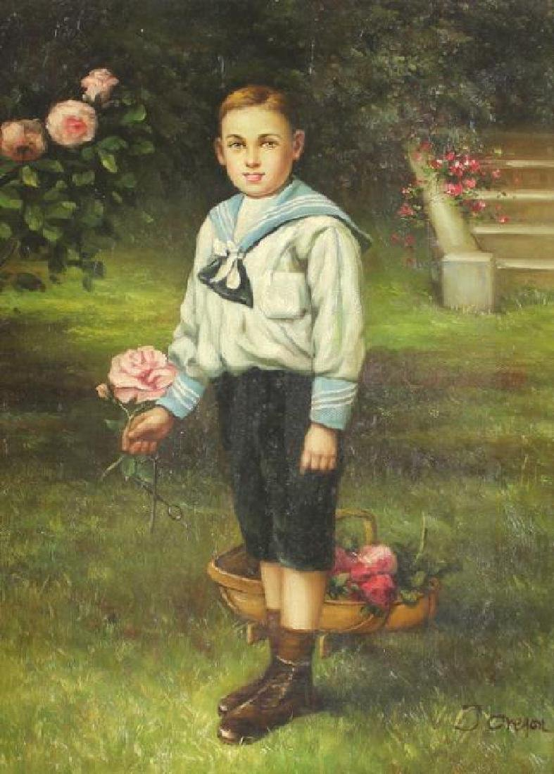 ANTIQUE OIL PAINTING, BOY IN GARDEN, SIGNED