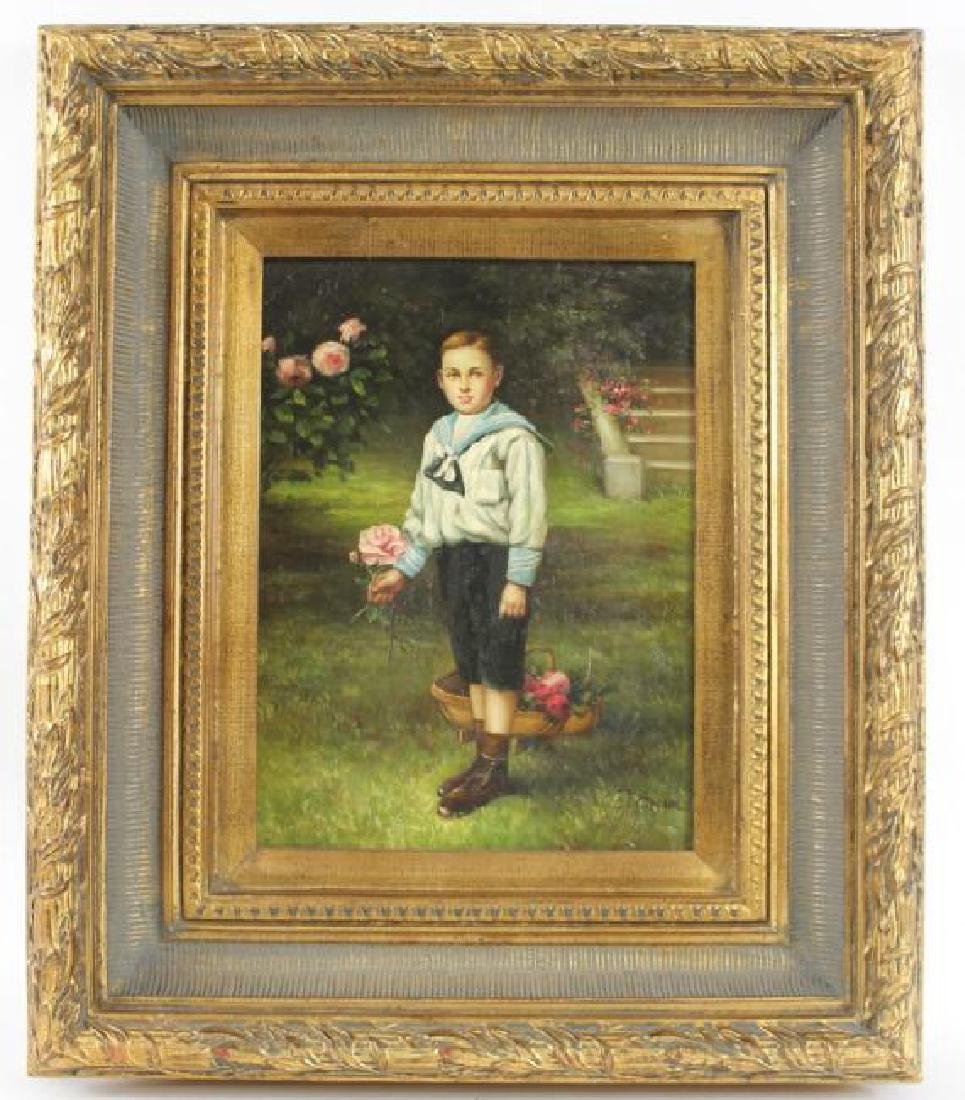 ANTIQUE OIL PAINTING, BOY IN GARDEN, SIGNED - 2