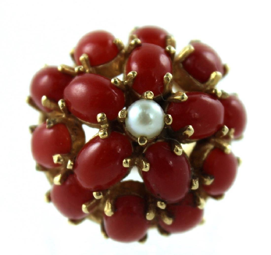 ANTIQUE CHINESE CORAL & PEARL FASHION RING