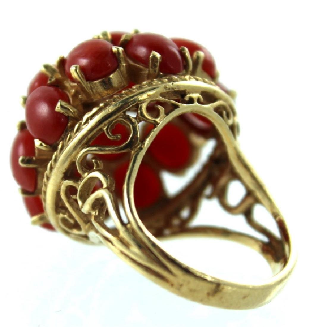 ANTIQUE CHINESE CORAL & PEARL FASHION RING - 2