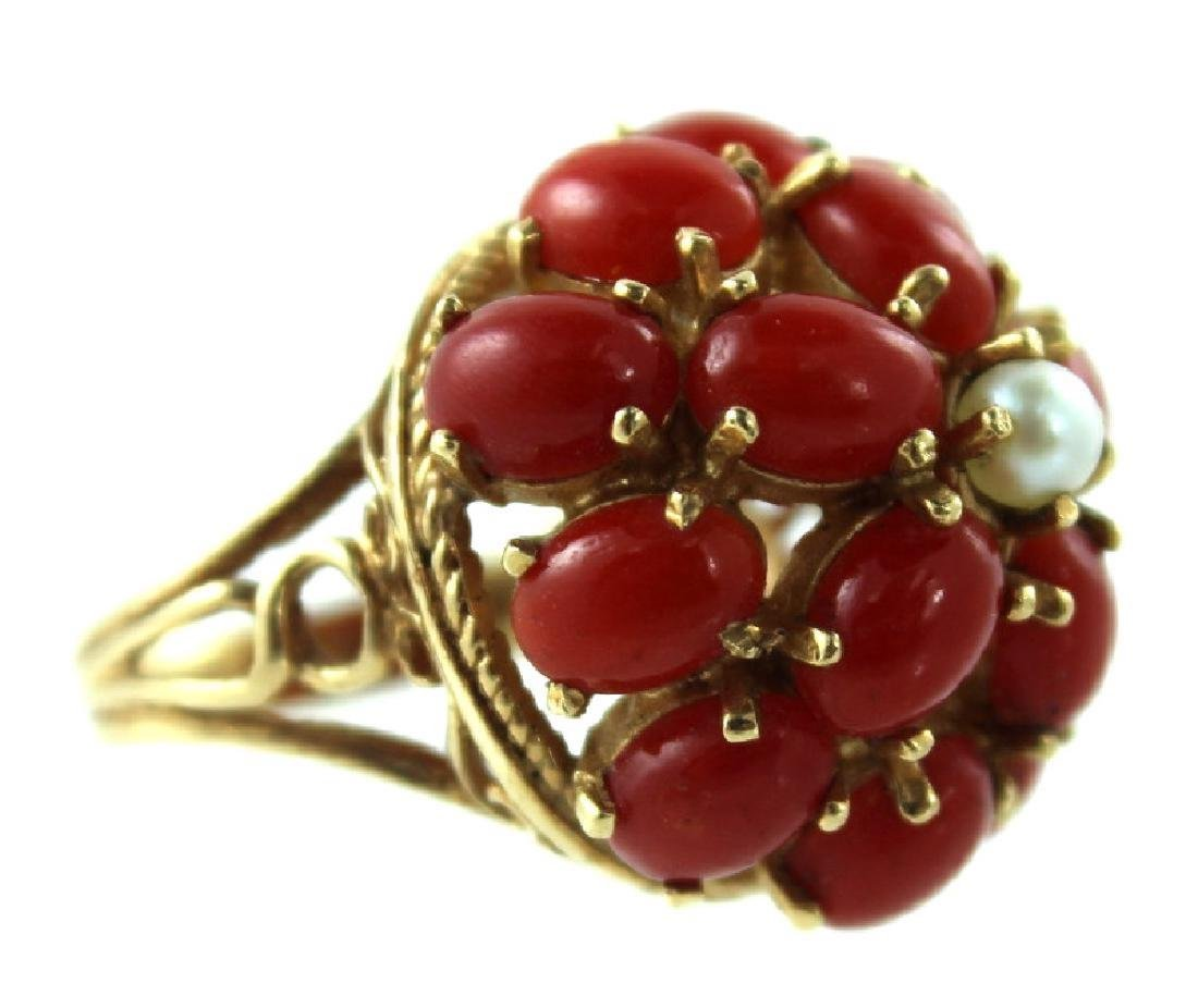 ANTIQUE CHINESE CORAL & PEARL FASHION RING - 3