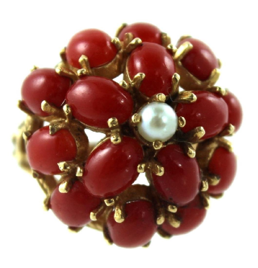 ANTIQUE CHINESE CORAL & PEARL FASHION RING - 4