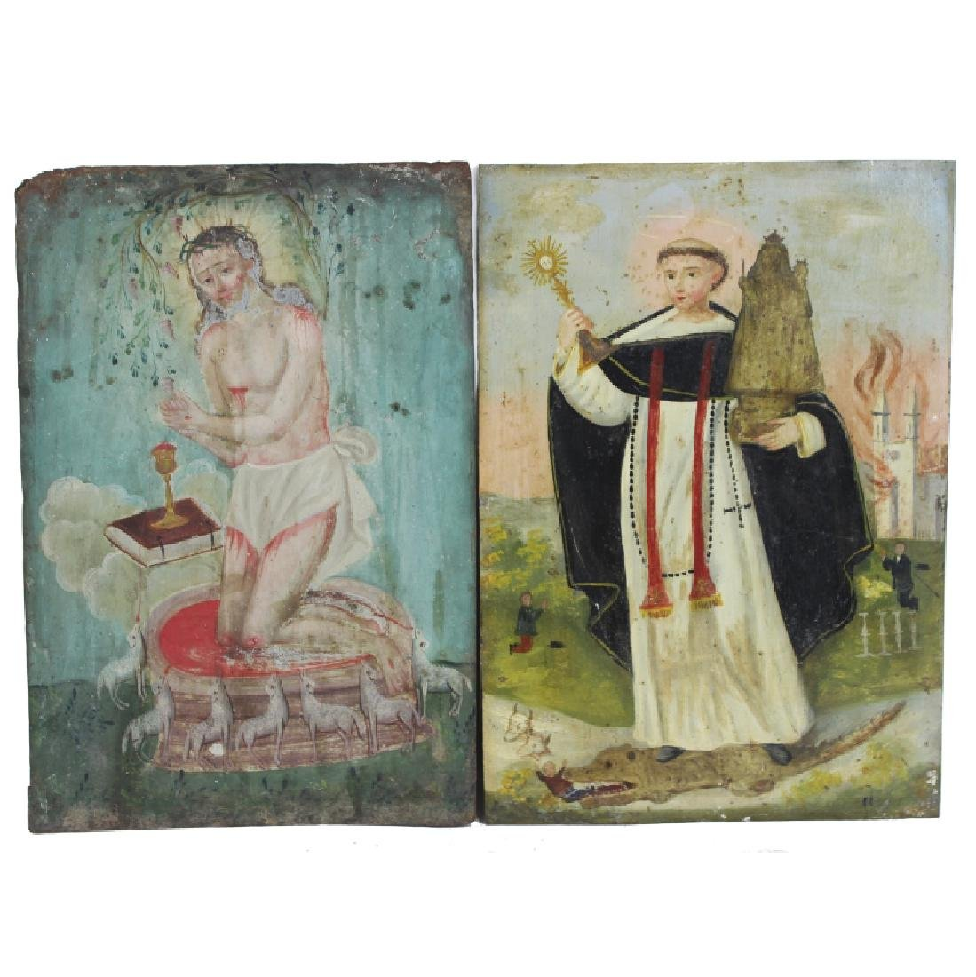 TWO PAINTINGS ON COPPER RELIGIOUS SCENE