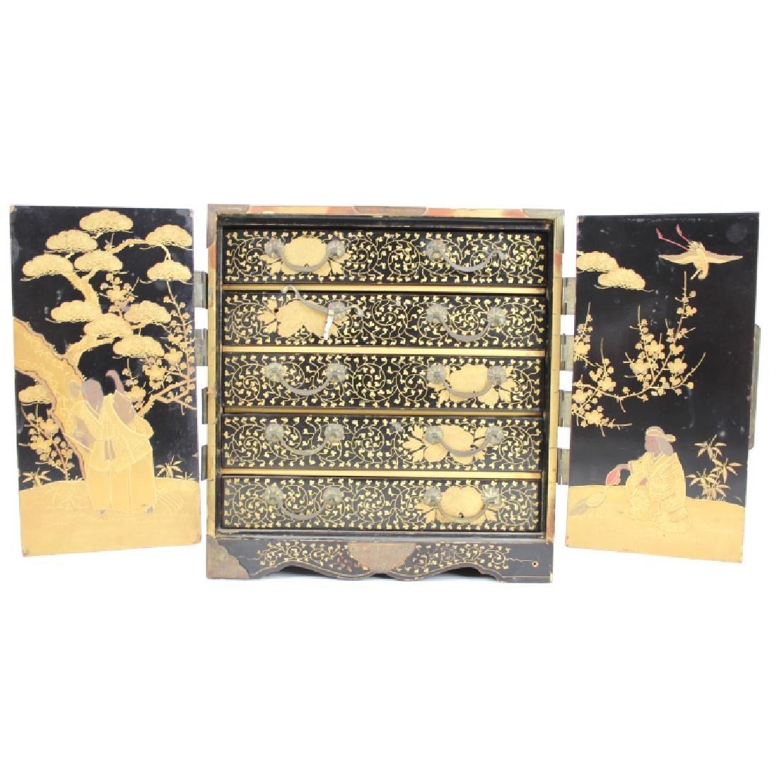 ASIAN GILT PAINTED JEWERLY BOX - 2