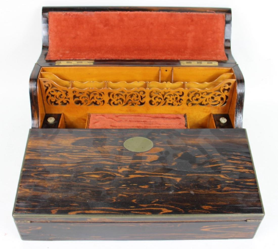 ANTIQUE BURLWOOD DESK ORGANIZER - 3