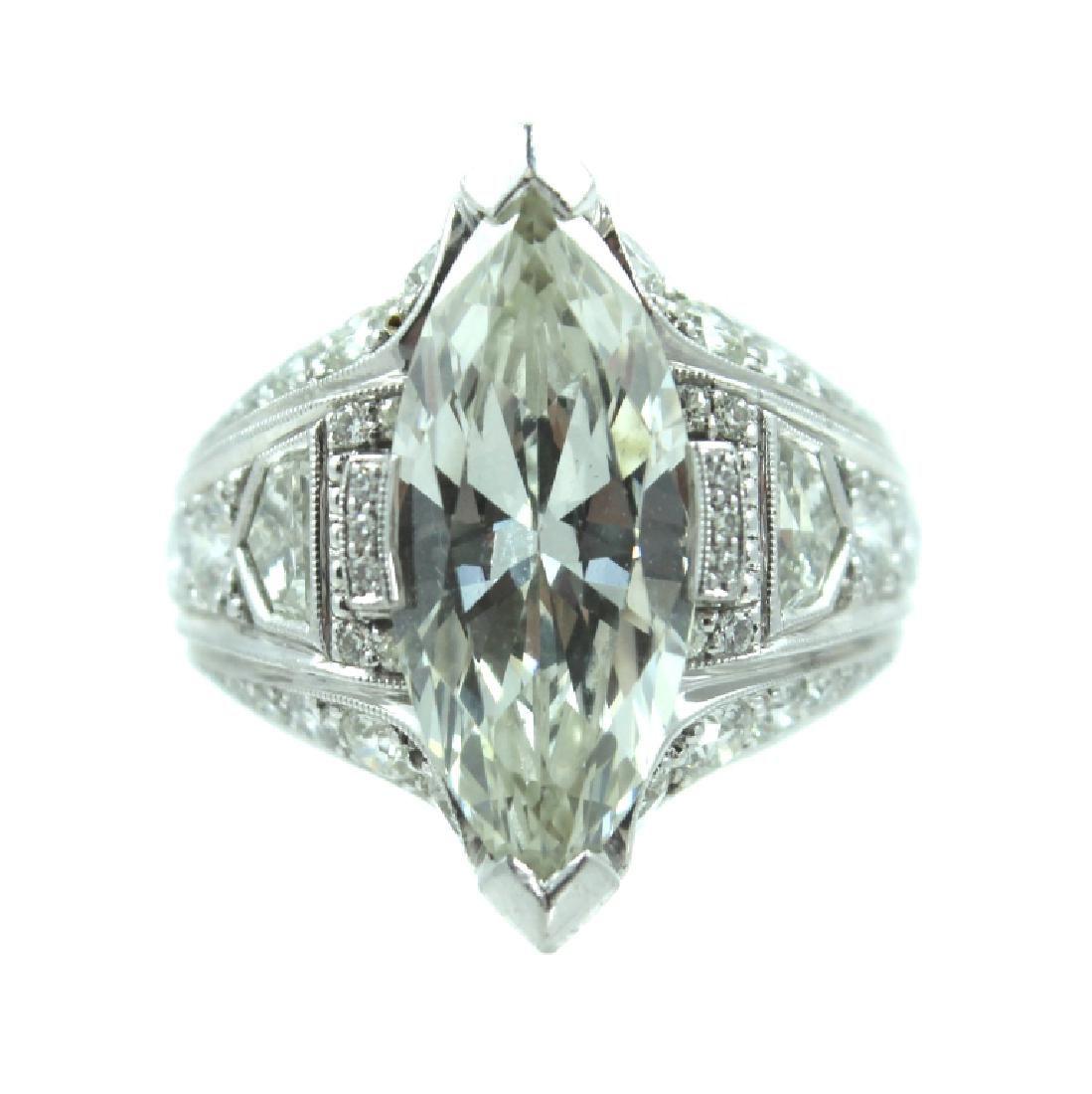 ESTATE 7.50 TCW MARQUISE DIAMOND ENGAGEMENT RING