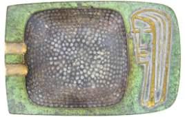 VINTAGE PALBELL BRONZE METAL ASHTRAY ISRAEL