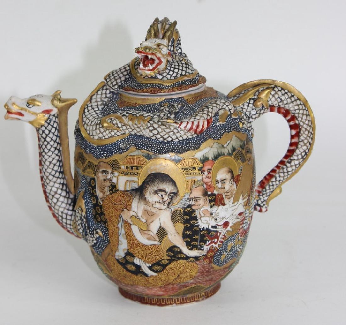 ANTIQUE JAPANESE SATSUMA TEA SET - 2