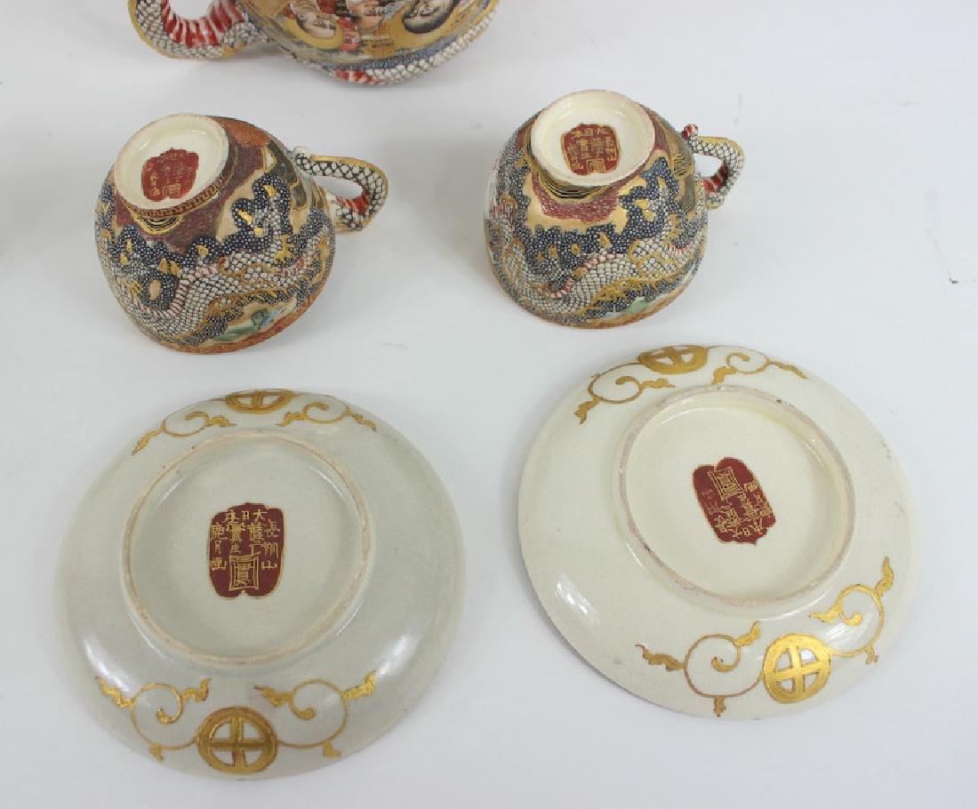 ANTIQUE JAPANESE SATSUMA TEA SET - 4